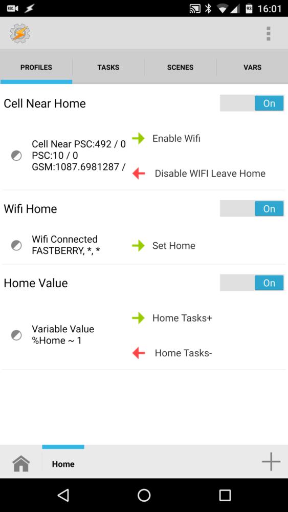 Tasker home profile