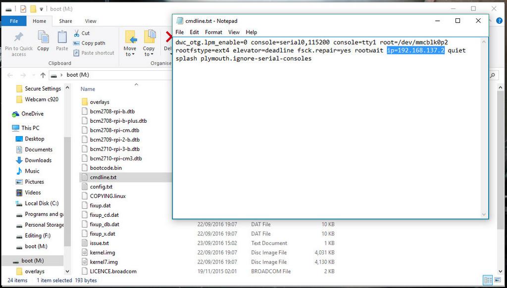 Add ip address to the cmdline.txt