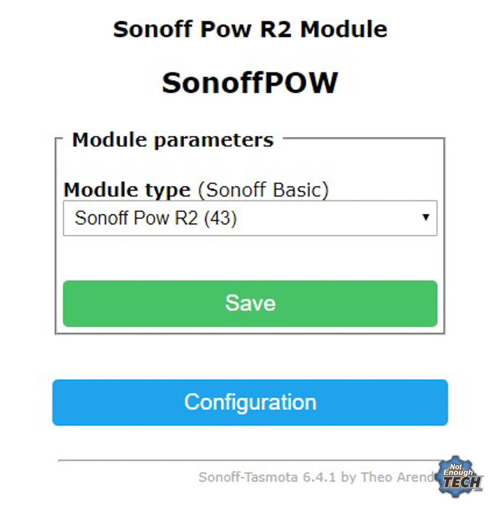 Flashing Tasmota on Sonoff POW R2 - Not Enough TECH