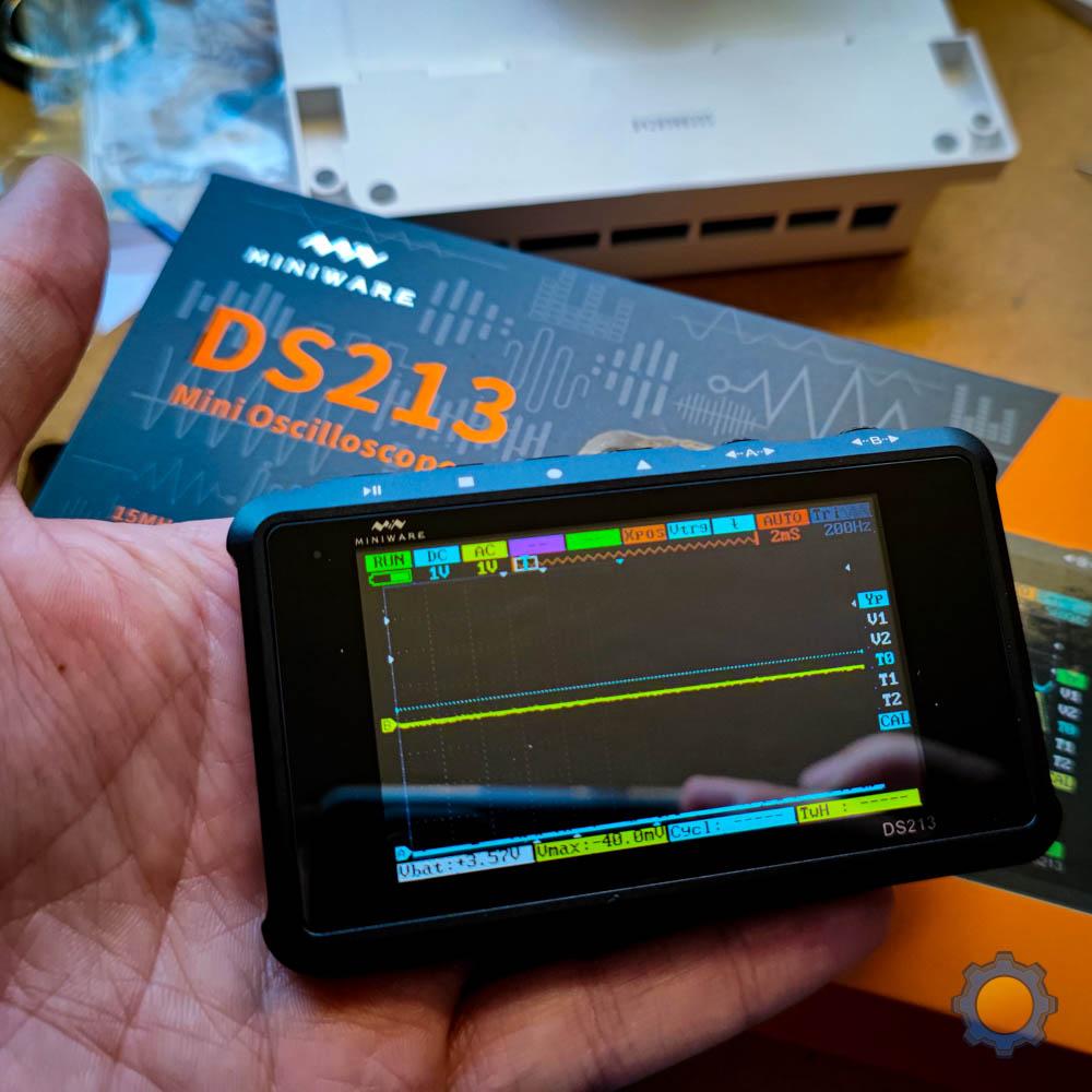 DS213 Oscilloscope in my hand