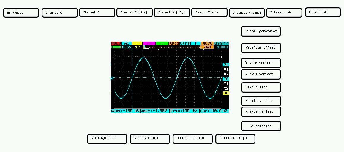 DS213 Oscilloscope menu layout